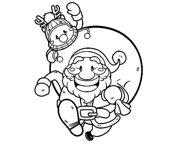 Desenho De Pai Natal E Rudolph Para Colorir