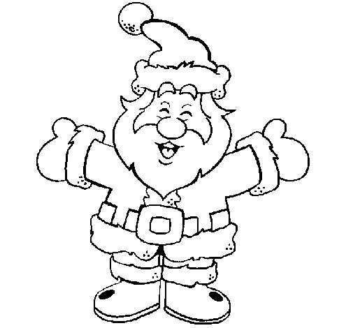 Desenho de Pai Natal feliz para Colorir