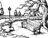 Desenho de Paisagem da parque para colorear