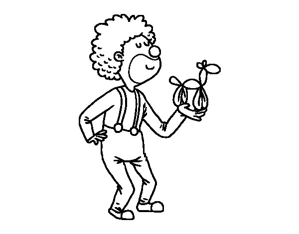 Desenho de  Palhaço com um balão para Colorir