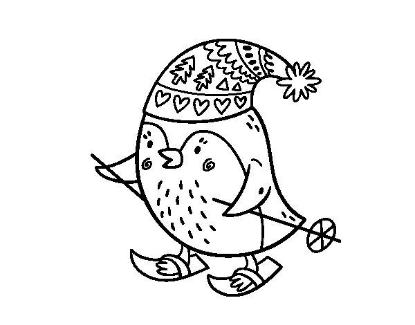 Desenho de Pássaro pequeno esquiando para Colorir