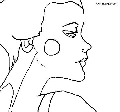 Desenho de Perfil geisha para Colorir