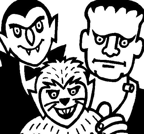 Desenho de Personagens Halloween para Colorir