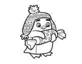 Desenho de Pinguim com caramelo para colorear