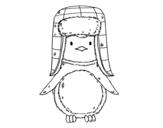 Desenho de Pinguim com chapéu para colorear