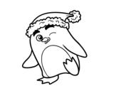 Desenho de Pinguim com gorro natalício para colorear
