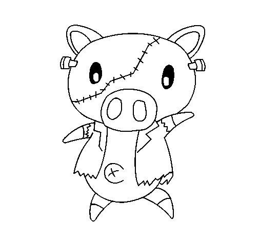 Desenho de Porco graffiti frankensteint para Colorir