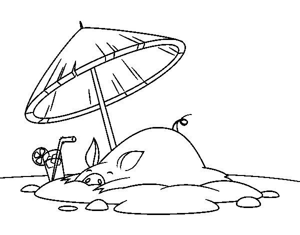 Desenho de Porco na praia para Colorir