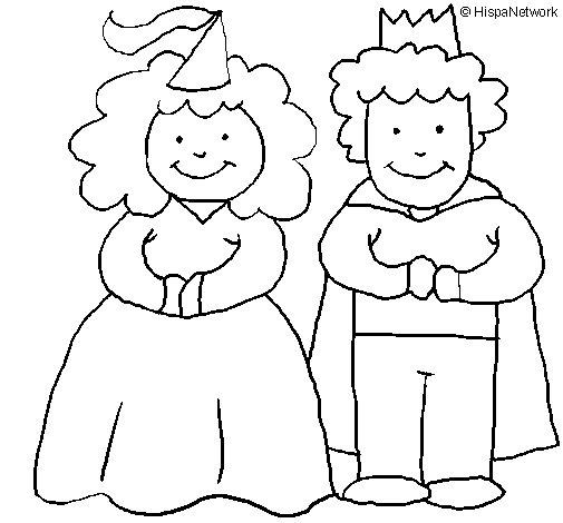 Desenho de Princesa e rei para Colorir