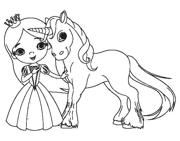 Desenho de Princesa e unicórnio para Colorir