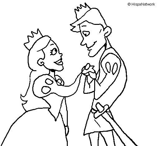 Desenho de Príncipes a olharem-se para Colorir