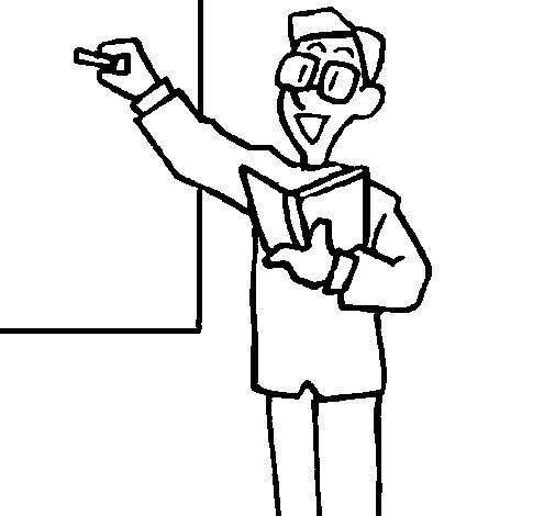 Desenho de Professor no quadro-negro para Colorir