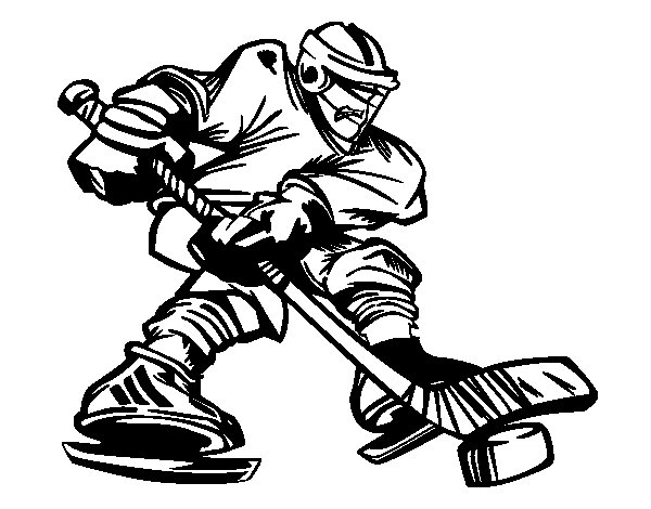 Desenho de Profissional jogador de hóquei para Colorir