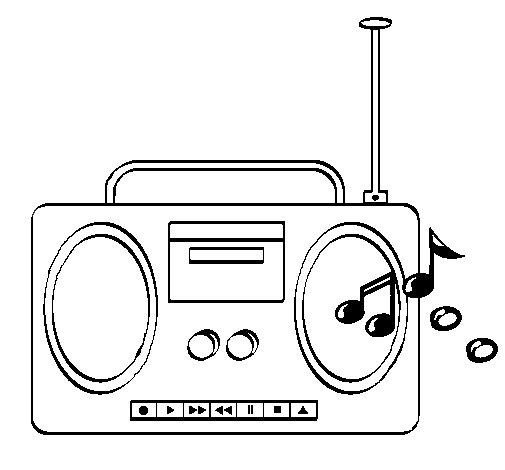 Desenho de Radio cassette 2 para Colorir