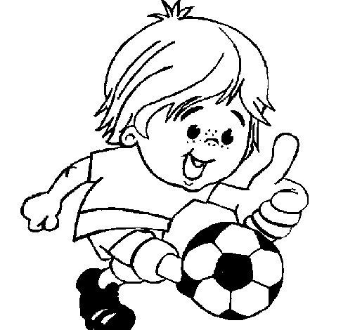 Desenho de Rapaz a jogar futebol para Colorir