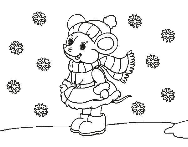 Desenho de Ratita abrigada de Natal para Colorir
