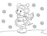 Desenho de Ratita abrigada de Natal para colorear