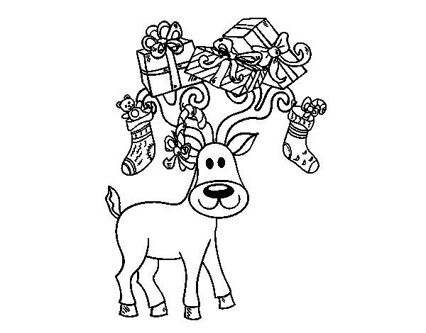 Desenho de Rena com presentes de Natal para Colorir
