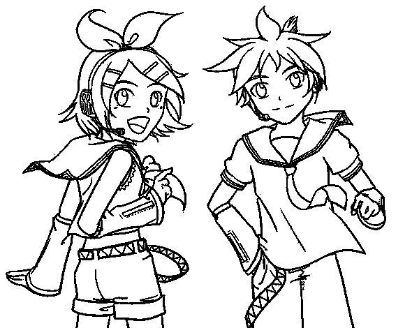 Desenho de Rin y Len Kagamine Vocaloid para Colorir