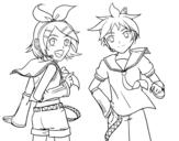 Desenho de Rin y Len Kagamine Vocaloid para colorear