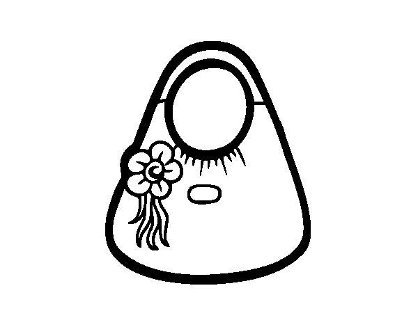 Desenho de Sacola com flor para Colorir