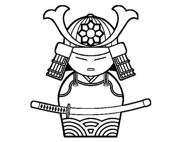 Desenho de Samurai chinês para Colorir