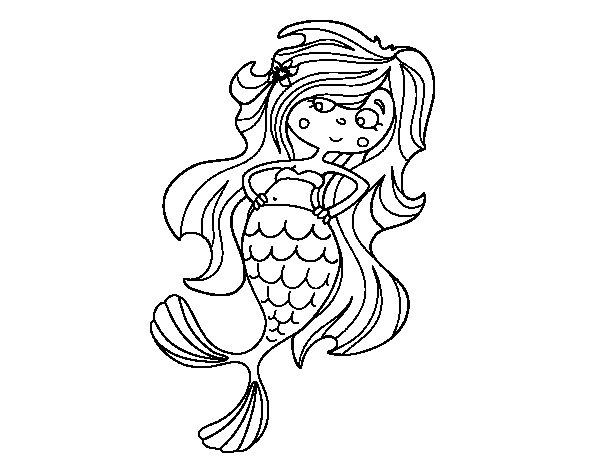Desenho de Sereia com as mãos nos quadris para Colorir ...