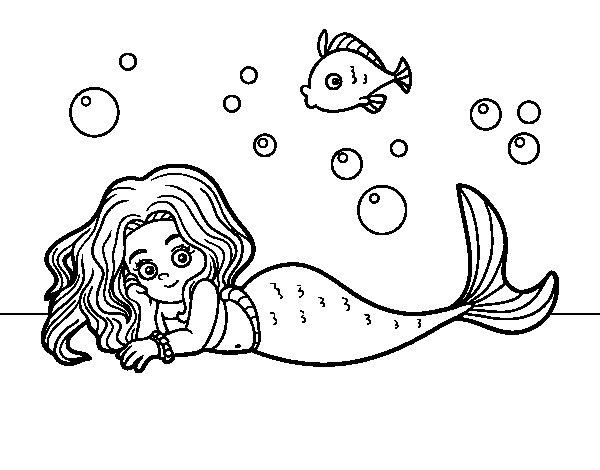 Desenho de Sirene bonita para Colorir