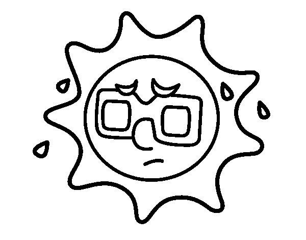 Desenho de Sol com suor para Colorir
