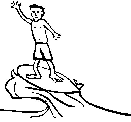Desenho de Surfe para Colorir