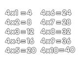 Desenho de Tabuada de Multiplicação do 4 para colorear