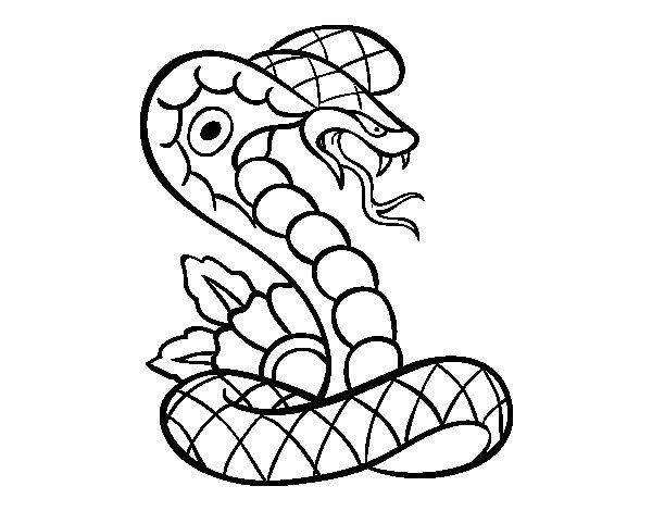 Desenho de Tatuagem de cobra para Colorir