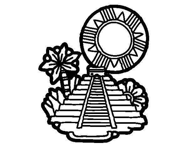 Desenho de Templo de Kukulcán para Colorir
