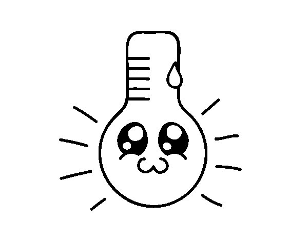 Desenho de Termómetro kawaii para Colorir