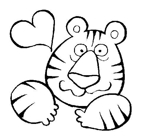 Desenho de Tigre louco de amor para Colorir