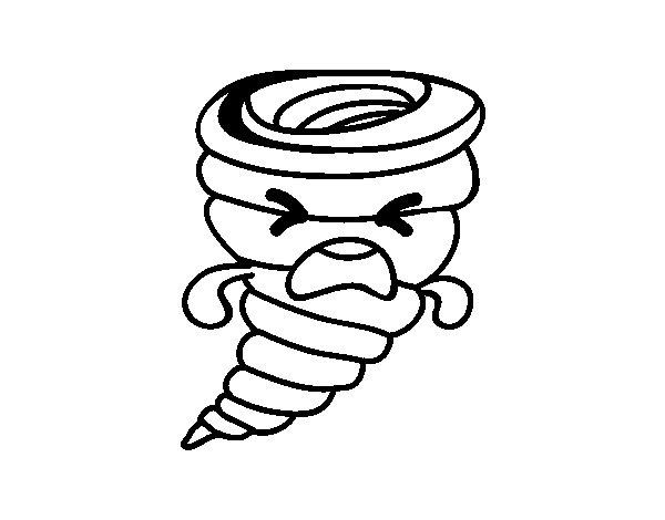 Desenhos Kawaii Para Colorir: Desenho De Tornado Kawaii Para Colorir