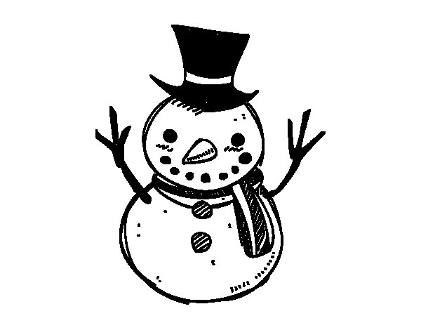 Desenho de Um boneco de neve com chapéu para Colorir