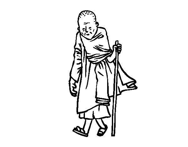 Desenho de Um monge budista para Colorir