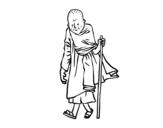 Desenho de Um monge budista para colorear