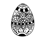 Desenho de Um ovo de páscoa floral para colorear