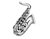 Desenho de Um saxofone para colorear