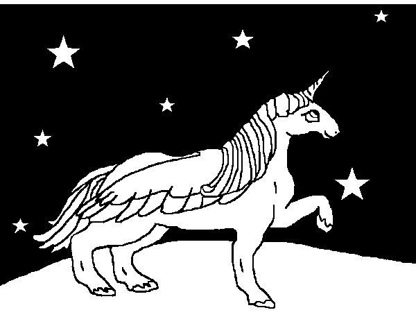 Desenho de Unicórnio olhando para as estrelas para Colorir