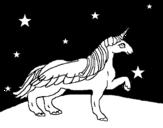 Desenho de Unicórnio olhando para as estrelas para colorear