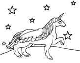 Dibujo de Unicórnio olhando para as estrelas
