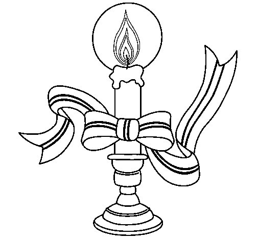 Desenho de Vela de natal II para Colorir