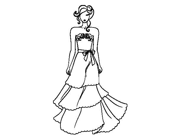 Desenho de Vestidos de casamento sem alças para Colorir