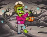 Disfarce de zombie do Halloween