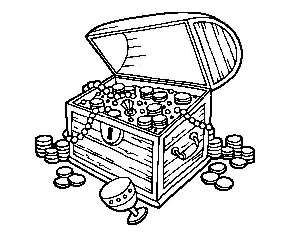 desenho de baú do tesouro para colorir colorir com