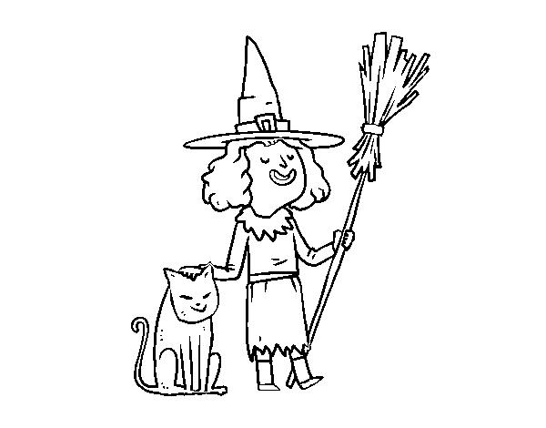 desenho de bruxa com gato de halloween para colorir colorir com