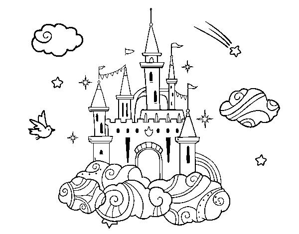 desenho de castelo tra la nuvole para colorir colorir com